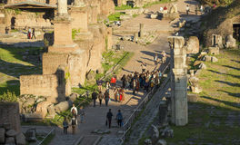 Roman Forum sunset visit stock photography
