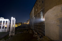Roman Forum, tabularium and Temple of Vespasian. The Tabularium is an ancient monument which is located on Capitol Hill, in the center of Rome. Its royalty free stock photos