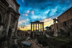 Roman Forum at Sunset. Roman forum taken from the view of the temple of saturn during sunset time Royalty Free Stock Images