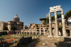 Roman Forum. Temple of Castor and Pollux. The ruins of Roman forum. Temple of Castor and Pollux. Rome, Italy Royalty Free Stock Images