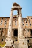 Roman Forum. Temple of Vespasian and Titus Stock Photo