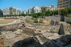 Roman Forum of Thessaloniki - ancient Roman-era forum of the city. Agora, located at the upper side of Aristotelous Square stock photography