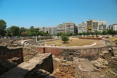 Roman Forum of Thessaloniki - ancient Roman-era forum of the city. Agora, located at the upper side of Aristotelous Square royalty free stock images