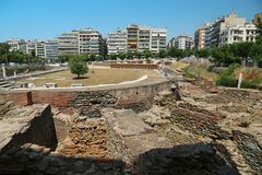 Roman Forum of Thessaloniki - ancient Roman-era forum of the city. Agora, located at the upper side of Aristotelous Square stock image