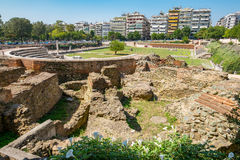 Roman Forum. Thessaloniki, Macedonia, Greece. Ruins of ancient Greek Agora later Roman Forum in Thessaloniki. Macedonia, Greece, Europe stock photo