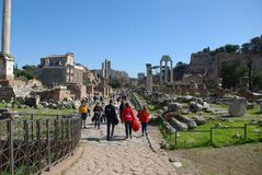 Roman Forum, town, human settlement, tourism, tours. Roman Forum is town, tours and ancient rome. That marvel has human settlement, town square and obelisk and royalty free stock photo