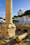 Roman Forum and Trajan`s Column, Rome`s historic center, Italy. Stock Image