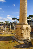 Roman Forum and Trajan`s Column, Rome`s historic center, Italy. Stock Photo