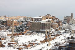 Roman Forum under snow Royalty Free Stock Images