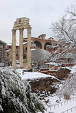 Roman Forum under snow Royalty Free Stock Photo