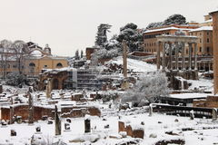 Roman Forum under snow Royalty Free Stock Photography