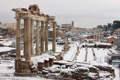 Roman Forum under snow Stock Images