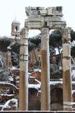 Roman Forum under snow Royalty Free Stock Photo