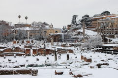 Roman Forum under snow Royalty Free Stock Photos