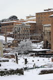The Roman Forum under snow in Rome Stock Photos