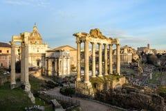 Roman Forum. Vast excavated area of Roman temples. stock photo