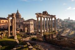 Roman Forum. Vast excavated area of Roman temples. stock image