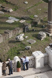 Roman Forum and the Victorian terrace in Rome. Couple kissing. royalty free stock photos