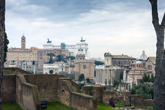 The Roman Forum. View from the Avenue leading from the Colosseum to the Forum Romanum Royalty Free Stock Photos