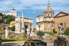 The Roman Forum in ancient Rome, Italy. The Roman Forum view, city square in ancient Rome, Italy royalty free stock image