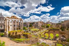 Free Roman Forum, View From Capitolium Hill In Rome Stock Photo - 147647410