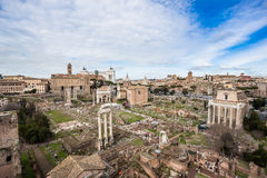 Roman Forum, view from palatine hill Royalty Free Stock Images