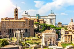 Roman Forum, view on the Tabularium, the Temple of Castor and Pollux, the Arch of Septimius Severus, the Temple of Saturn, the Tem stock image