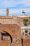Roman forum, view of the Temple of Romulus  from the Palatine Hi Royalty Free Stock Photos