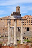 Roman forum, view of the Temple of Romulus  from the Palatine Hi Stock Photo