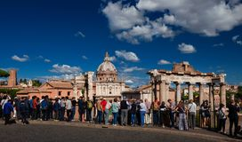 Roman Forum view with tourists Stock Photography