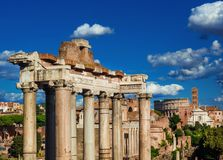Roman Forum view. View of Roman Forum ancient ruins with old temples and Coliseum from Capitoline Hill panoramic terrace stock images