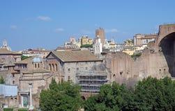 Roman forumruïnes Stock Afbeeldingen
