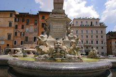 Roman Fountain. Fountain on the Rotunda square in Rome in front of Pantheon Royalty Free Stock Photography