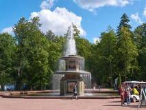 Roman Fountain en parc inférieur dans Peterhof St Petersburg, Russie photographie stock