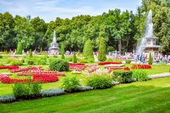 Roman fountains in Peterhof Lower park, St. Petersburg, Russia royalty free stock images