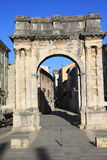 Roman Gate dorato in Pola, Croazia Fotografia Stock Libera da Diritti