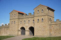 Roman Gateway at Arbeia Museum. The reconstructed Roman gateway at Arbeia Roman Fort in South Shields, UK Stock Photo