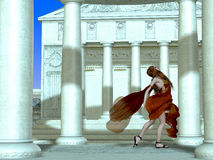 Roman Girl. A Roman palace erupts with laughter and gaiety as a young girl runs among the columns Stock Photography