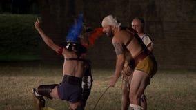 Roman Gladiator Mirmillo Versus Thraex stock video
