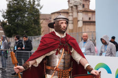 Roman Gladiator in period costume and throws. Royalty Free Stock Photos