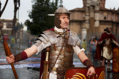 Roman Gladiator in period costume and throws. Royalty Free Stock Photography