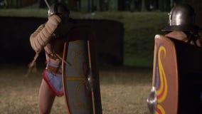 Roman Gladiator Thraex Versus Thraex arkivfilmer