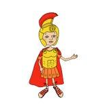 Roman gladiator van het kleurenbeeld in pantser, helm en candals Royalty-vrije Stock Foto's
