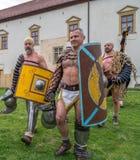 Roman gladiators in battle costume Royalty Free Stock Image