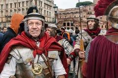 Roman gladiators in the marathon. Royalty Free Stock Photos