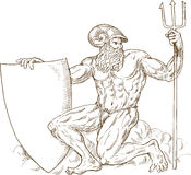 Roman God Neptune or poseidon Royalty Free Stock Images