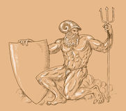Roman God Neptune or poseidon Stock Image