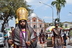 Roman governor marching on street, street drama, community celebrates Good Friday representing the events that led to the Crucifix. San Pablo City, Laguna royalty free stock photos