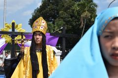 Roman governor marching on street, street drama, community celebrates Good Friday representing the events that led to the Crucifix. San Pablo City, Laguna stock image