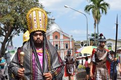 Roman governor marching on street, street drama, community celebrates Good Friday representing the events that led to the Crucifix. San Pablo City, Laguna stock photography